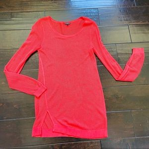 Express sexy sheer mesh tunic coral sweater dress
